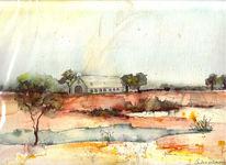 Aquarellmalerei, Landschaft, Scheune, Malerei