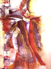Indianer, Aquarellmalerei, Menschen, Malerei