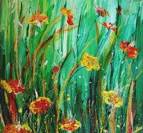 Blumen, Kitsch, Grün, Malerei