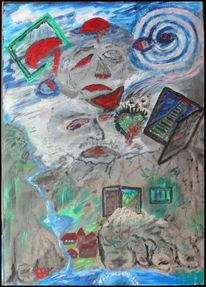 Auseinandersetzung, Malerei, Surreal, Psychose