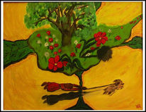 Malerei, Naiv, Frau, Fliegen