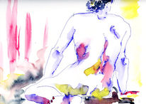 Aquarellmalerei, Figural, Akt, Mann
