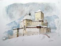 Burg, Mauterndorf, Salzburg schnee, Aquarell
