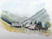Almhütte, Aquarell, Hütte