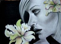 Mädchen, Helisartpage, Zeichnung, Blumen