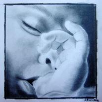 Ruschig, Zeichnung, Schlafendes kind, Portrait