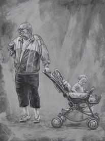 Alter mann, Schreck, Kinderwagen, Kommunikation