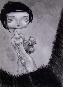 Monochrom, Aquarellmalerei, Teddybär, Huschel
