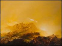 Berge, Dorf, Gelb, Tal
