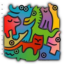 Grafik, Verschachteln, Farben, Tiere