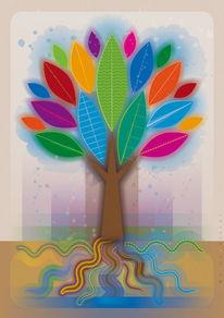 Baum, Wasser, Stamm, Digitale grafik
