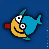 Digital, Figur, Fisch, Halbmond