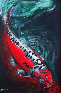 Figural, Rot, Fisch, Koi