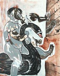 Reiter, Schwan, Malerei