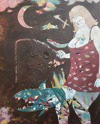 Fisch, Angel, Deix, Malerei
