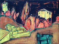 Bunker, Baum, Strauch, Temperamalerei