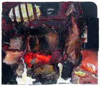 Malerei, Mischtechnik, Landschaft, Collage