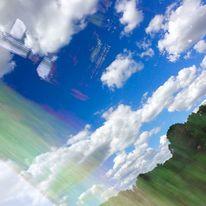 Rauschendes grün, Schwebende fenster, Schwirrende wolken, Mischtechnik