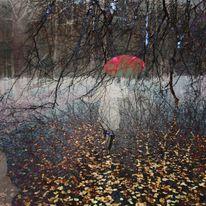 Regenschirm, Äste, Tanz, Laub