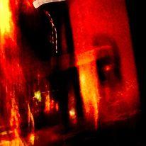 Gebäude, Feuer, Schatten, Digitale kunst