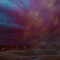 Häuser, Licht, Farbwolken, Feld