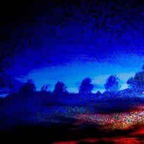 Schlafmurmelnd, Bäume im wind, Hinabregnend, Mischtechnik