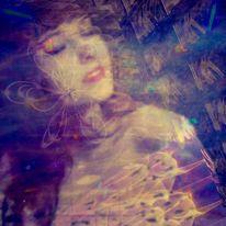 Mädchen, Gesicht, Haare, Digitale kunst