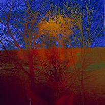 Baumwesen, Gesicht, Himmel, Mischtechnik