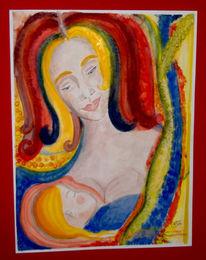 Kind, Frau, Malerei, Menschen
