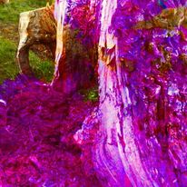 Ein gedicht, Schreib ihm, Baumstumpf in pink, Mischtechnik