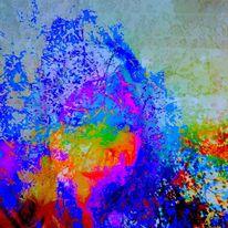 Gesicht, Farben, Digitale kunst, Schnee