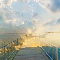 Meer, Sonne, Aufgerissener himmel, Brücke ins anderwo