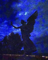 Nacht sterne, Schatten, Engel, Botschaft