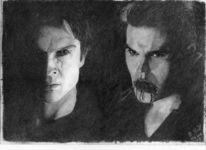 Kohlezeichnung, Vampir, Mann, Portrait