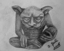 Gargoyle, Portrait, Zeichnung, Statue