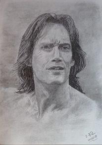 Portrait, Zeichnung, Kohlezeichnung, Mann