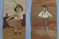 Junge, Heimat, Mädchen, Naturholz
