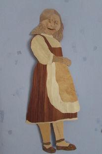 Mädchen, Holz, Intarsienbilder, Kunsthandwerk