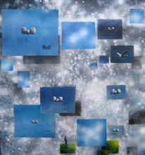 Malerei, Figural, Wolken, Osten