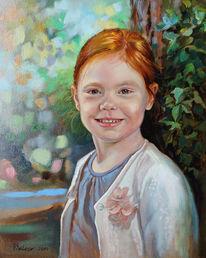 Kind, Portrait, Ölmalerei, Malerei