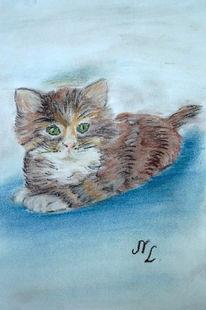 Kittenbraunkatze, Figural, Malerei