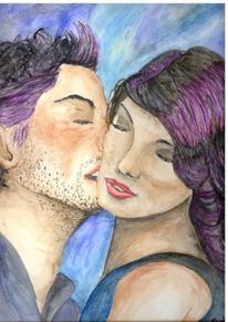 Kuss, Blau, Liebe, Zuneigung