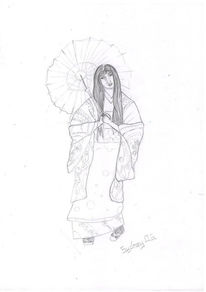 Skizze, Geisha, Japan, Zeichnung