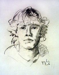Zeichnung, Kohlezeichnung, Portrait, Skizze