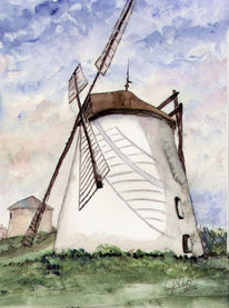 Aquarellmalerei, Grafik, Aquarell, Windmühle