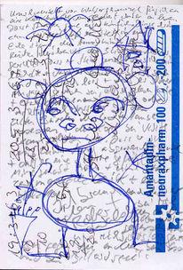 Schirm, Mann, Schnee, Zeichnung