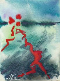 Malerei, Abstrakt, Vogel, Tod