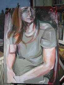 Lang, Haare, Malerei, Mann