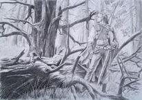 Kundschafter, Krieger, Mittelalter, Wald