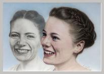 Mund, Mädchen, Acrylmalerei, Frisur